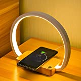 LONRISWAY Bedside Lamp Wireless Charger LED Table Lamp with Touch Control Desk Lamp Eye-Caring Reading Light for Kids, Adults, Home, Dorm and Office