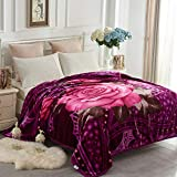 JYK Korean Style Faux Mink Fleece Blanket 83' X 91', 5.7 LB - 2 Ply Reversible Soft Warm Plush Flannel Blanket (Rose/Purple, King)