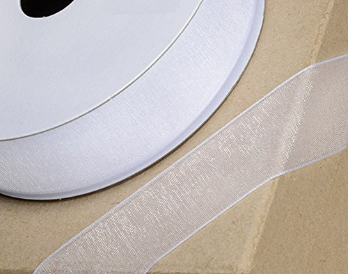 Club Green Organzaband, gewebter Rand, weiß, 6mm x 25