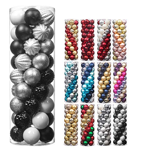 Christmas Balls,45Pcs 2.36inch Glitter Christmas Tree Ornaments Hanging Christmas Home Decorations for Home House Bar Party(Black/White/Silver)