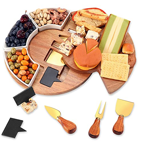 """VUDECO Charcuterie Board Set 12"""" Cheese Board with 3 Serving Plates..."""