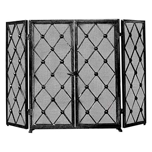 HMBB 3 Panel Wrought Iron Fireplace Screen with Doors Large Flat Guard Metal Decorative Mesh Cover Baby Safe Proof Firewood Burning Stove Accessories (26.8' L x 32.3' H x 12.6' W) (Color : Black)