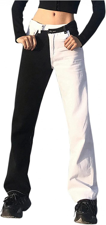 Fudule Y2K Fashion Jeans for Women, Teen Girls High Waist Denim Jeans Patchwork Wide Leg Pants Streetwear Brown Pants