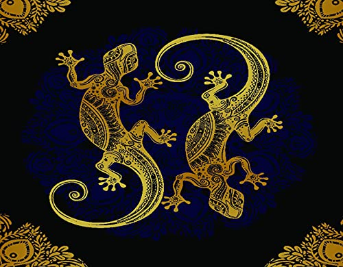 TISAGUER 5D Diamante Pintura por Número Kit,Mandala Artístico Gecko Lagartos Marco bohemio Estilo de tatuaje de henna tropical,Bricolaje Diamond Painting kit completo Bordado Decoración del hogar