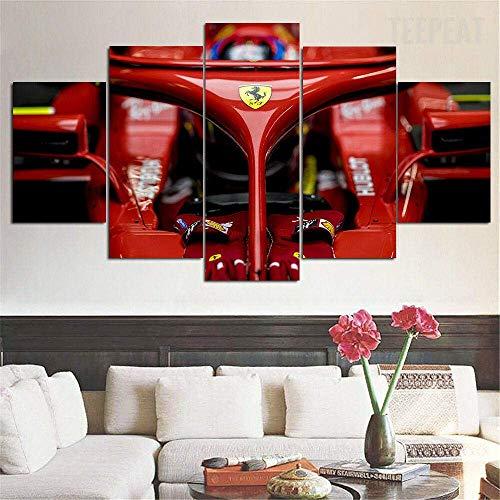 Airxcn F1 Ferrari Vettel Raikkonen 5 Paneles Lienzo Pared Arte hogar Sala de Estar decoración póster impresión HD