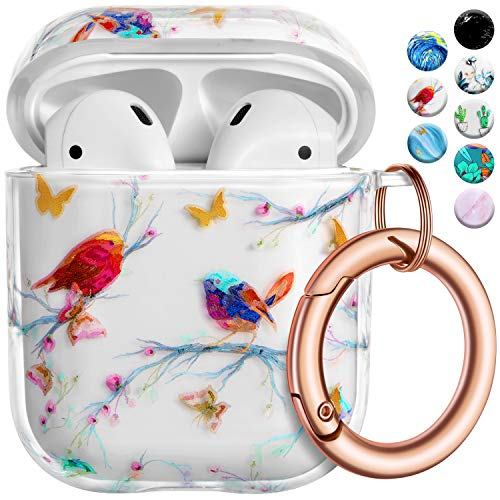 AirPods Case Cover with Rose Gold Circle Keychain, Cute Floral Print PC Skin Full Protective Case Cover for Women Girl Kids with Apple AirPods 2&1 Wireless Charging Case,Front LED Visible,Bird Thorn