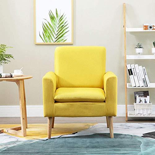 HYLMM Moderne Akzent-Stuhl Stoff Sessel Einzel Sofa, Stuhl Wingback Side Chair mit Holzbeinen für Haus Wohnzimmer Schlafzimmer Gelb