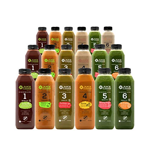 natural cleanses Cold Pressed 3 Day Juice Cleanse - Natural Detox – Plant Based – Healthy Vegan Diet – Fresh Raw Green Vegetables – Enhances Immunity (18 Total 16 oz. Bottles) (3 Day)