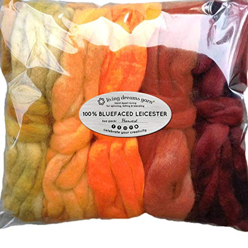 Hand Dyed BFL Spinning Fiber. Super Soft Wool Top Roving Drafted for Hand Spinning, Felting, Blending and Weaving. 5oz Beautifully Variegated Mini Skeins. Harvest