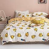BlueBlue Ducks Kids Duvet Cover Set Twin, 100% Cotton Bedding for Boys Girls Teens Single Bed, Cartoon Yellow Duck Bird Pattern Print on White, 1 Soft Comforter Cover 2 Pillowcase (Twin)