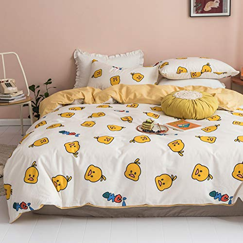 BlueBlue Ducks Kids Duvet Cover Set Queen, 100% Cotton Bedding for Boys Girls Teens, Cartoon Yellow Duck Bird Pattern Print on White, 1 Full Soft Comforter Cover 2 Pillow Shams (Queen)