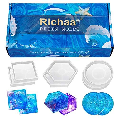 Richaa 6 Pack stampi in Silicone epossidico per stampi per sottobicchieri sottobicchiere Fai da Te, Include Tondo, Quadrato, esagono per Fusione con Resina, calcestruzzo, Cemento,Domestica