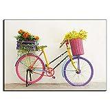 Rjunjie Moderne Leinwand Kunst Bild Bunte Fahrrad mit Blumen Poster Mode Fahrrad Wandkunst Dekor Malerei für Wohnzimmer dekor (80x120 cm kein Rahmen)