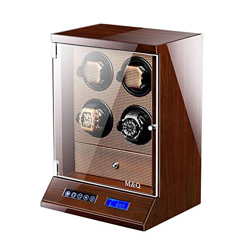 L.HPT Uhrenbeweger 4 Uhren Holz,Batterie Watch Winder 4 Box Motor Automatic Uhrenbox Uhrenboxen Uhrenaufbewahrung Uhrenkasten Uhrenvitrine Uhrenschatulle Brown