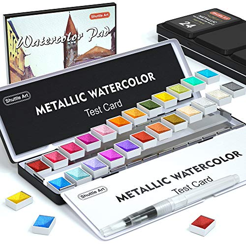 Metallic Watercolor Paints, Shuttle Art 24 Colors Glitter Watercolor Paint in Half Pans with Water Brush Pen Watercolor Pad &Mental Box, Art Supplies for WatercolorPainting, Illustrations, Calligraphy