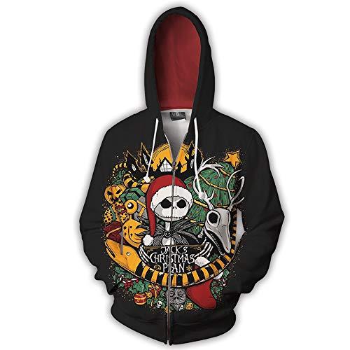 sailorth Alptraum vor Weihnachten Geister Jack Skellington Hoodie Unisex Erwachsene Reißverschluss Sweatshirt 3D Print Pullover Cosplay Kostüm Jacke für Männer