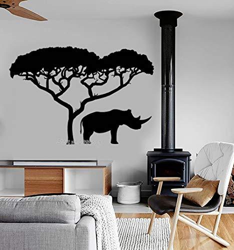 sanzangtang Nieuwe planken vinyl muur decal rhino Afrikaanse natuur boom landschap dier stickers aangepaste kleur muurschildering behang muur