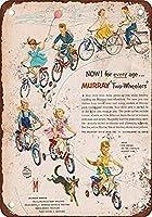 自転車に乗る子供たち-ブリキの看板ヴィンテージノベルティ面白い鉄の絵の金属板