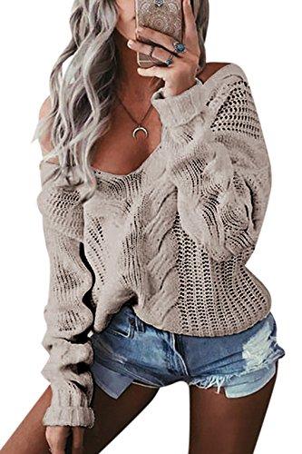 YOINS Oversize Pullover Damen Strickpullover Damen Sexy Off Shoulder Langarmshirt Schulterfrei V-Ausschnitt Causal T-Shirt,Aktualisierung-grau,L