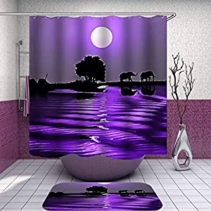 SARA NELL Shower Curtain and Rug Set Under The Moon, Purple Sky, Purple River, Water Elephant Shower Curtain Fabric Waterproof Fabric Bathroom Curtain Set with 12 Hooks - 72 x 72 Inch