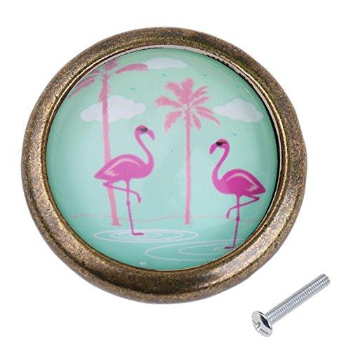 Vintage redondo pomo para puerta armario cajón mango Pull Knob Hardware Flamingo # 2