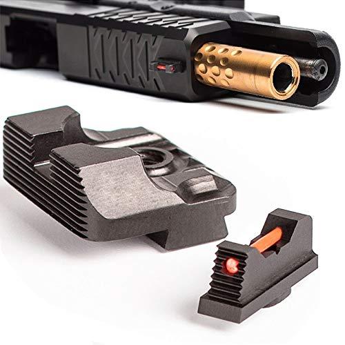 Higoo Tactical Fiber Optic Handgun Pistol Sight Front/Rear Set Compatible with Glock