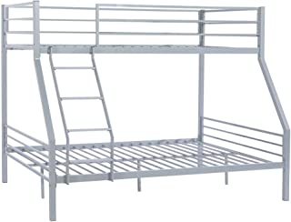 Bonnlo Twin Over Full Metal Bunk Bed Frame with Flat Steps and Reinforced Guardrail for Kids/Children/Teens, Gray