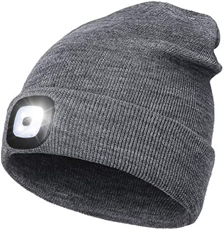 LED Beanie Hat with Light Unisex USB Rechargeable Hands Free 4 LED Headlamp Cap Winter Knitted product image
