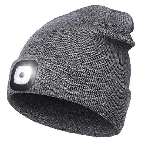 Wmcaps Cappello Unisex Illuminato Berretto 4 LED, Cappello con Luce LED Cappello Uomo Donna Invernali Berretto a 3 Livelli di luminosit LED,Rimovibile Lavabile Beanie cap (Grigio)