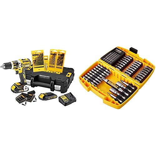 Dewalt XR Akku-Schlagbohrschrauber Set DCK795S2T (Bohren und Schlagbohren, 1 x Schlagbohrer Li-Ion 18 V) + 42-teiliges Bit-Set DT71572-QZ