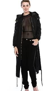 Women's Zipper Pocket Detail Hooded Long Waterproof Jacket. (DH419)