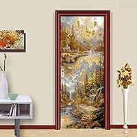 3DドアステッカーHdプリント屋内ドア壁画壁紙取り外し可能な自己接着ビニール壁デカールポスターDiyアーティスト家の装飾抽象家の風景PVC壁画-100cmx215cm