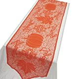 Thanksgiving Decoration Fall Table Decor Cloth Lace Pumpkin Maple Leaves Autumn Fall Table Runner Decor Fireplace Scarf Thanksgiving Tablecloth for Autumn Harvest Festive Party (Style 1) 20 x 80 inch