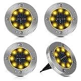 [Nueva versión]4 pack 8 led Luces Solar de Tierra Luz Luces Solares Jardin Lámpara en el Exterior Luz Solar De Jardín Lámpara solar LED para el suelo Luces Solares para Exterior Jardin IP65impermeable