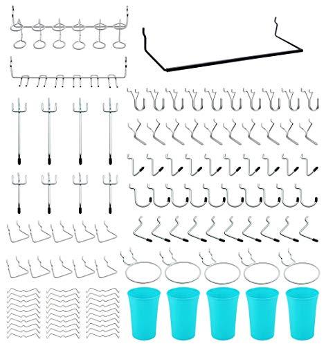 111 ganchos de pared perforados para herramientas con caja de plástico para alicates y martillos.