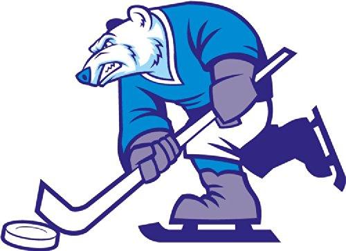 Cartoon Ice Hockey Polar Bear Mascot Sport Hochwertigen Auto-Autoaufkleber 12 x 8 cm