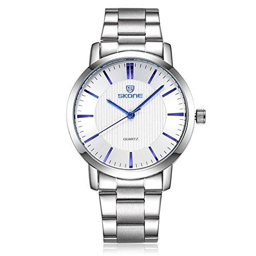 SKONE Herren Business Uhr Silber Farbe Band weiß Zifferblatt blau Pointers sj505002