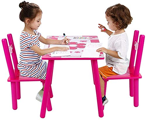 Children Wooden Table and Chair Set, Kids Childs Studying Painting Dining 3 in 1 Activity Table Chair Set for Lego Reading Dining Playing in Bedroom, Playroom, Kindergarten, Indoor and Outdoor Garden