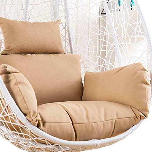 Rattan Swing Egg Chair Cushion - Hanging Patio Floral Furniture Garden Outdoor (Just Cushion) - Khaki
