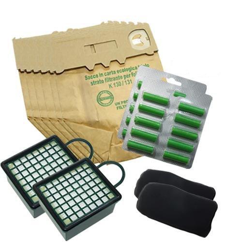 12 Sacs + 15 Parfums + 2 Filtres HEPA + 2 Filtres Anti-odeurs pour VK130 131 Aspirateur Vorwerk, produits adaptables