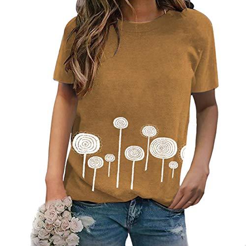 Impreso en 3D Verano Casual Camisetas de Manga Corta Verano Mujer Tops Camiseta Manga Corta Camisa de Cuello Redondo Camisa de Moda de Manga Corta Túnica Tops Blusas Impreso Redondo Camiseta de Mujer