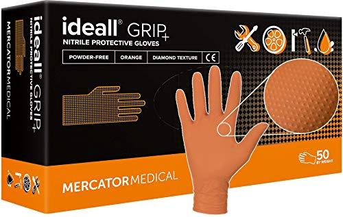 MERCATOR MEDICAL Nitrilhandschuhe orange | M - XXL | Ideall GRIP+ ORANGE Einweg Schutzhandschuhe puderfrei latexfrei 2,5x dicker Diamanttextur Nitril-Handschuhe, Größe:XL - 50 Stück, Farbe:Orange