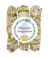 3 Bundles of Sage - Each stick is approximately 4 inches long and 1 inch wide. Use for smudging rituals and home fragrance. All bundles are Grown in California, hand tied in 100% cotton string, and packaged in the USA. No pesticides were used in the ...