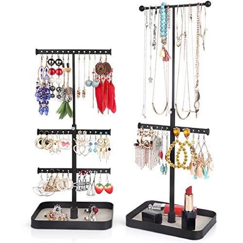 Keebofly Jewelry Stand Organizer Necklace Organizer Display with Adjustable Height for Necklaces Bracelet Earrings and Ring Pack of 2 Black