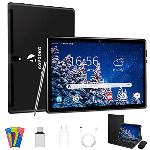 Tablet 10 pollici Android 10.0 4G LTE Quad-Core 4GB RAM 64GB ROM, Dual WiFi, Dual SIM, Bluetooth, GPS,128GB Espandibili, supporto Alla Dad - Negro