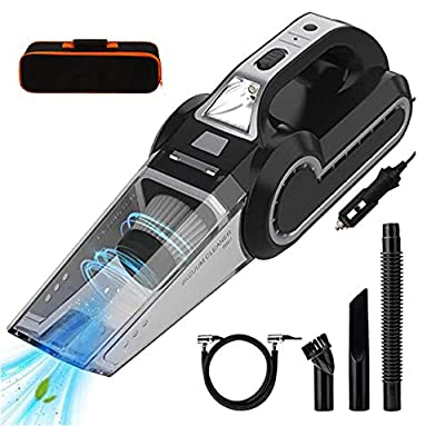 4-in-1 Portable Car Vacuum Cleaner,Handheld Vacuums,Mutifunction Car Vacuums Cleaner with Searchlight,Tire Pressure Gauge and Car Inflator,120W DC 12V UP to 6500Pa Powerful Suction