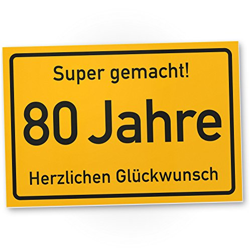 Bedankt! 80 jaar stad bord/plastic bord - Cadeau 80. Verjaardag, cadeau-idee verjaardagscadeau achtstigste, verjaardagsdeco/feestdecoratie/feestaccessoires/verjaardagskaart