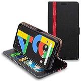 ebeststar - cover compatibile con google pixel 4a (version 4g, no 5g) custodia portafoglio pelle pu protezione libro flip, nero/rosso [pixel 4a: 144 x 69.4 x 8.2 mm, 5.8'']