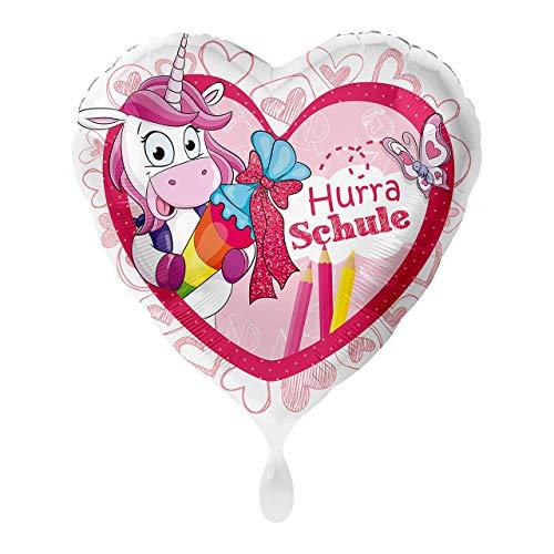 1 Folienballon Einschulung Hurra Schule Einhorn Herz bunt ungefüllt ca 43 cm Ballongas geeignet