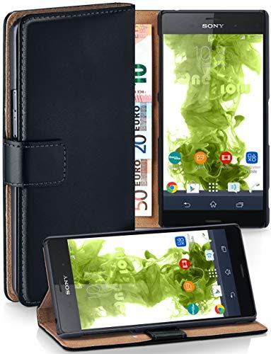 moex Klapphülle kompatibel mit Sony Xperia Z3 Hülle klappbar, Handyhülle mit Kartenfach, 360 Grad Flip Hülle, Vegan Leder Handytasche, Schwarz